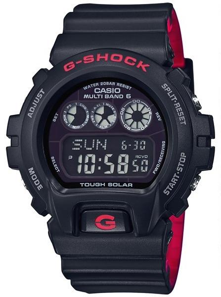 凱西歐凱西歐 g 衝擊凱西歐 G 休克黑色與紅色系列和紅色系列無線電太陽能 GW 6900 基於數位男士手錶黑色 / 紅色 GW-6900 HR-1JF GW-6900 HR-1