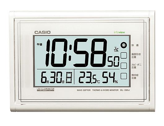 凱西歐時鐘凱西歐鐘牆上時鐘收音機溫度濕度儀珍珠白 IDL-150NJ-7JF 國內真正 02P05Dec15