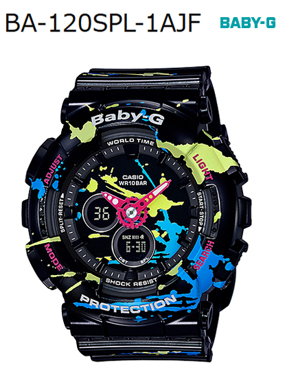 8f8ee6e14b3 BABY-G baby G ベビージー-limited model splatter pattern Casio CASIO アナデジ watch  black graffiti BA-120SPL-1AJF