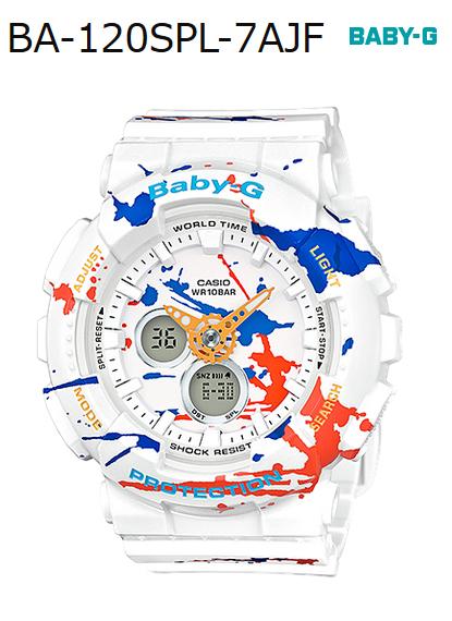 fa6e810437b BABY-G baby G ベビージー-limited model splatter pattern Casio CASIO アナデジ watch  white graffiti BA-120SPL-7AJF