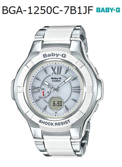 BABY-G嬰兒G bebijikompojittodezainkashio CASIO電波soraanadeji手錶白銀子BGA-1250C-7B1JF