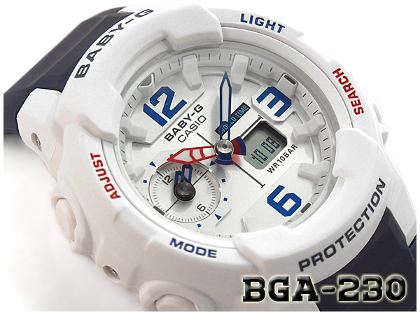 e8db2570a1e7 Baby G Baby-G ベビージー reimportation foreign countries model Casio CASIO アナデジ watch  tricolor white navy red BGA-230SC-7BCR BGA-230SC-7B