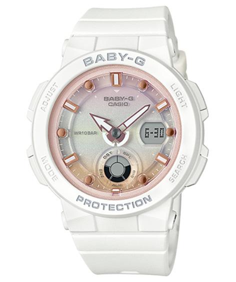47bc263b57f80 BABY-G baby G ベビージー Beach Traveler Series (beach traveler series) Casio  CASIO アナデジ watch white pink BGA-250-7A2JF