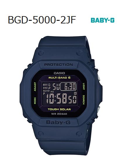 BABY-G嬰兒G嬰兒G卡西歐CASIO電波太陽能數碼手錶深藍BGD-5000-2JF