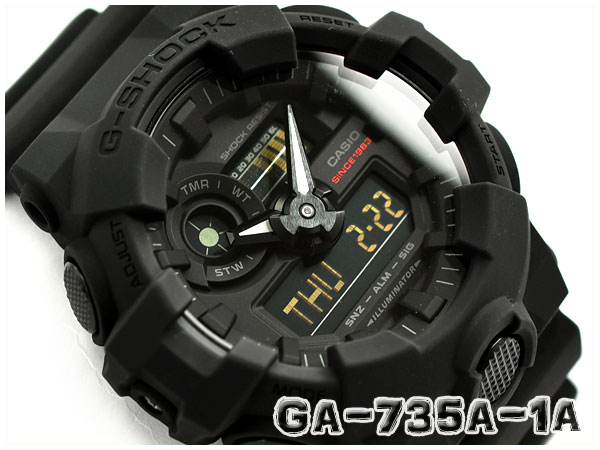 best sneakers e2935 adb8d G-SHOCK G ショックジーショック reimportation overseas model-limited 35th Anniversary  BIG BANG BLACK Casio CASIO アナデジ watch black GA-735A-1ADR GA-735A-1A