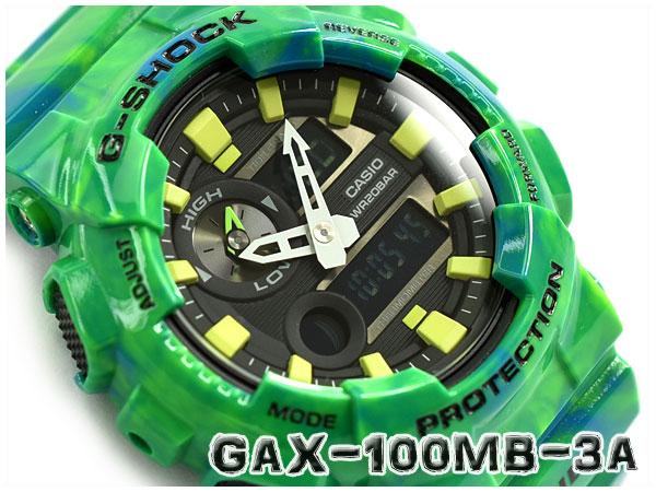 G-SHOCK Gショック ジーショック G-LIDE Gライド 2016年夏モデル カシオ CASIO アナデジ 腕時計 グリーン マーブル GAX-100MB-3ADR GAX-100MB-3A