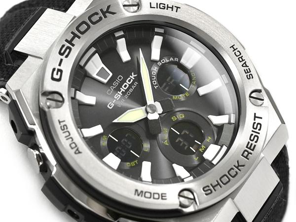 ab00fa3b4 G-SHOCK G ショックジーショック G steel G-STEEL reimportation foreign countries model  Casio CASIO ソーラーアナデジメンズ watch black silver tough leather ...