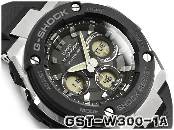 G-SHOCK Gショック ジーショック Gスチール G-STEEL 逆輸入海外モデル カシオ CASIO 電波ソーラー 電波時計 アナデジ メンズ 腕時計 ブラック シルバー GST-W300-1AER GST-W300-1A