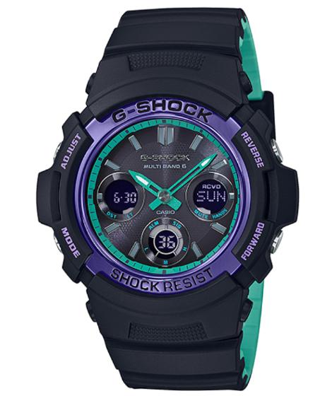 dc2c76735 G-SHOCK G ショックジーショックレトロスポーツカシオ CASIO electric wave ソーラーアナデジ watch black  purple turquoise AWG-M100SBL-1AJF