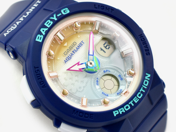 47cfd703ae6b G-SUPPLY  It is BABY-G baby G ベビージー AQUA PLANET aqua planet-limited model  reimportation foreign countries model Casio CASIO アナデジ watch blue ...