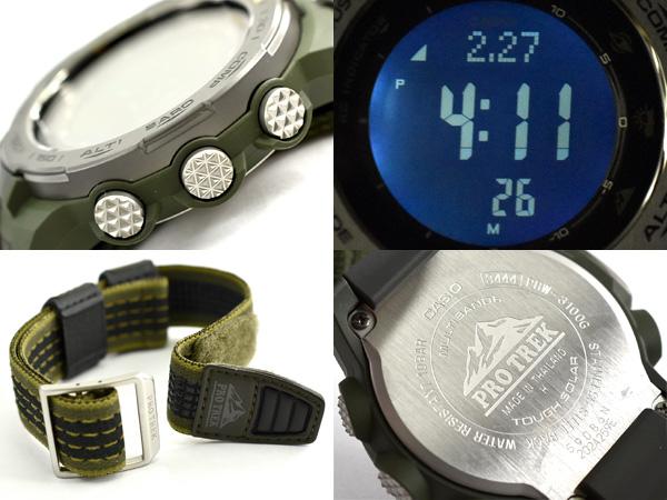 プロトレック PROTREK カシオ CASIO  限定モデル ナイロンクロスベルト+替えベルト付き 逆輸入海外モデル トリプルセンサー搭載 電波 ソーラー デジタル 腕時計 グリーン PRW-3100G-3DR PRW-3100G-3【あす楽】