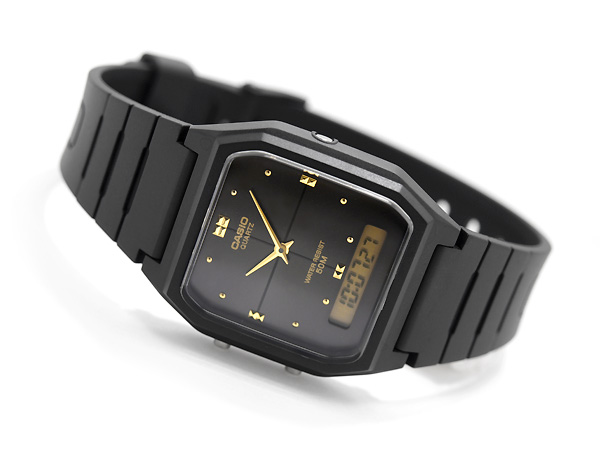 + 類比-數位手錶中性黑色 x 黃金撥號-聚氨酯皮帶 AW-48HE-1AV