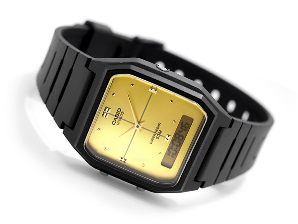 + An analog-digital Unisex Watch Gold Dial-urethane belt AW-48HE-9AV
