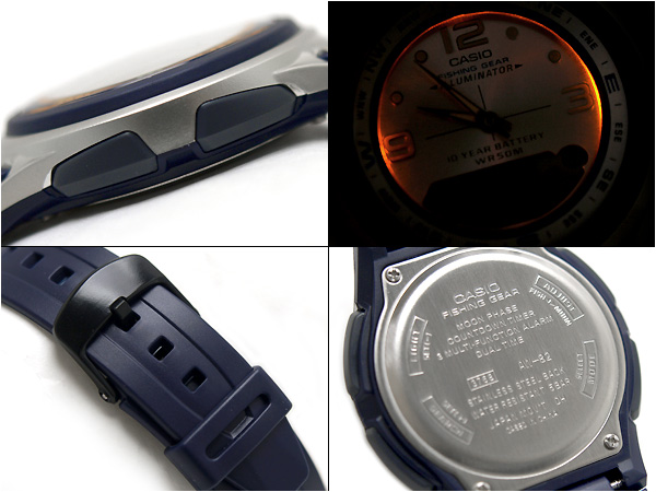 Oh, pat it; difishing gear moon graph function-based men watch blue dial blue urethane belt AW-82-2AVDF fs3gm