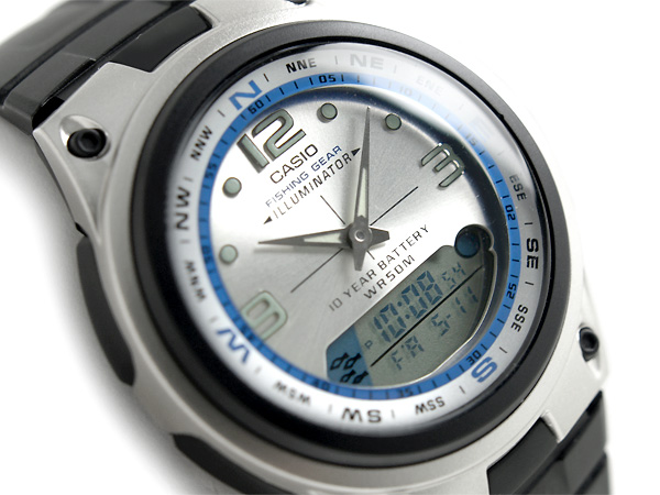 + Whole fishing gear ムーングラフ features powered mens Watch Silver x blue dial black polyurethane belt AW-82-7AVDF