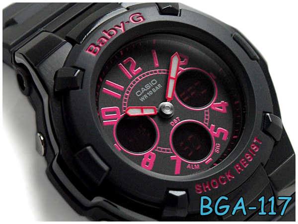 a669be84d2d9e G-SUPPLY  Casio baby G アナデジ watch pink black BGA-117-1B1DR reimportation  foreign countries model