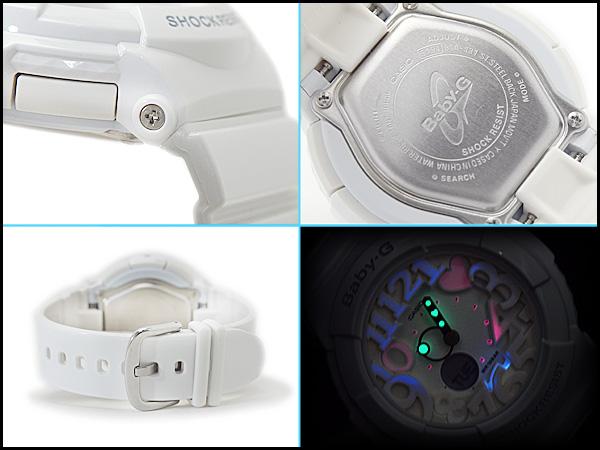 + 凱西歐寶寶 G 霓虹燈撥號系列類比數位手錶都是白人 BGA-131-7BDR