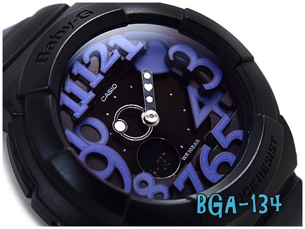 + Casio baby G neon dial series an analog-digital watch black × purple BGA-134-1BDR