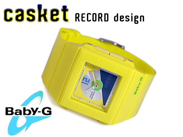 + CASIO baby-g Casio baby G Casket casket CD record motif model an analog-digital watch yellow BGA-201-9EDR BGA-201-9E
