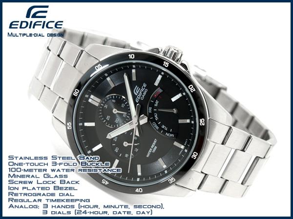 Casio overseas model edifice mens watch black dial stainless steel belt EF-341D-1AV EF-341D-1AVDF