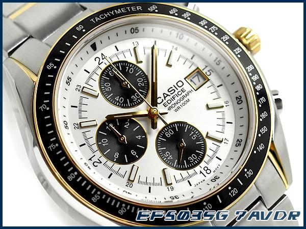 凱西歐大廈男裝看白色 x 黑色錶盤銀 / 金不銹鋼皮帶 EF-501sg-7avdr