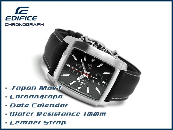 凱西歐日本尚未海外發佈模型大廈類比計時男士手錶方形錶殼黑色撥皮帶 EF-509 L-1AVDR