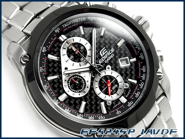 + Casio Japan not released overseas model edifice analog chronograph men's watch black carbon dial-silver stainless steel belt EF-524SP-1AVDF