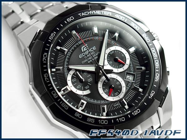 凱西歐日本尚未海外發佈模型大廈類比計時男裝手錶黑色撥銀不銹鋼帶 EF-540 D-1AVDF