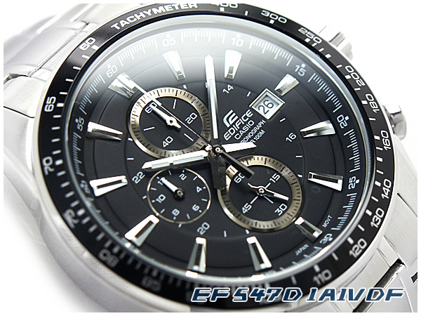 + Casio overseas model edifice chronograph mens watch black dial silver  stainless steel belt EF-547D-1 A1VDF cc4f5fdaa8e