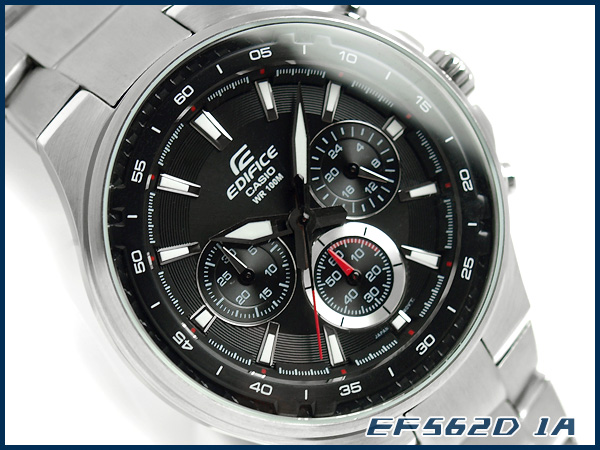 + Casio Japan not released overseas model edifice analog chronograph men's watch black dial stainless steel belt EF-562D-1AVDF