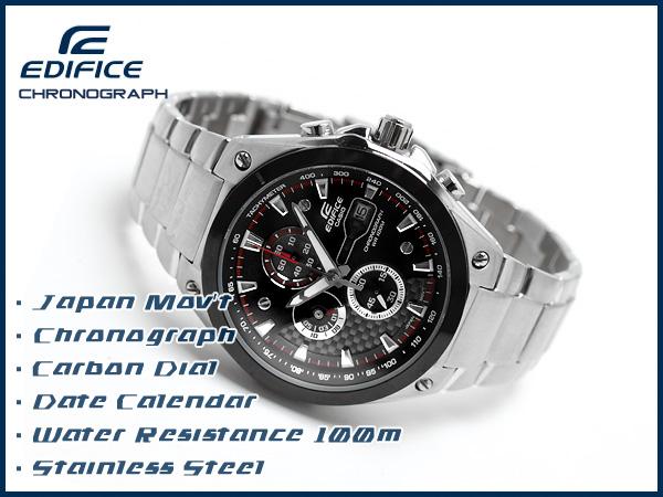 卡西歐日本未開始銷售海外moderuedifisuanarogukuronogurafumenzu手錶黑色×碳撥盤不銹鋼皮帶EF-564D-1AVDF
