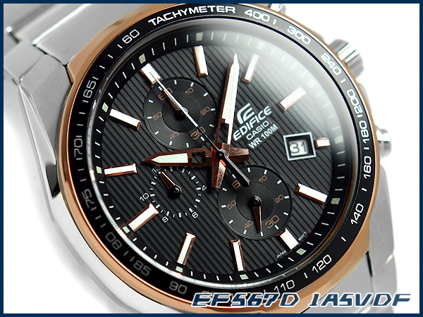 + Casio overseas model edifice analog chronograph men's Watch Black / Rose Gold stainless steel belt EF-567D-1 A5VDF