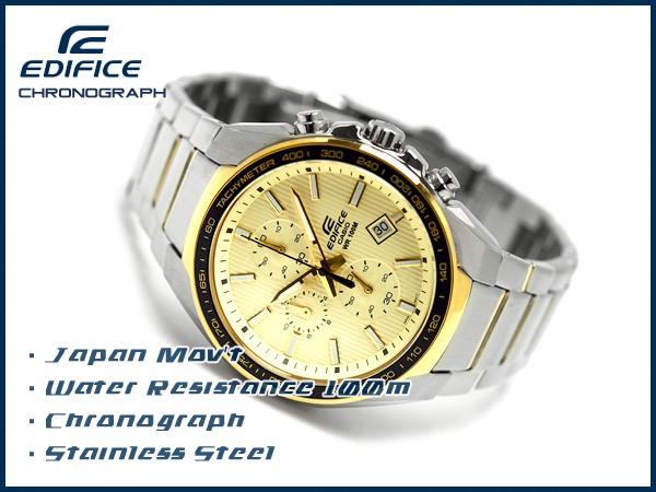 + Overseas model Casio edifice analog chronograph men's Watch Gold × EF-567SG-9AVDF black stainless steel belt