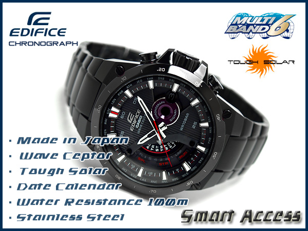 Casio reimportation foreign countries モデルエディフィスソーラー electric wave smart access-based men watch black stainless steel belt EQW-A1000DC-1ADR fs3gm