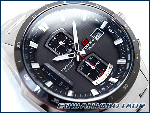 Casio overseas model edifice tough movement solar wave mens watch grey dial-silver stainless steel belt EQW-A1110DB-1ADR
