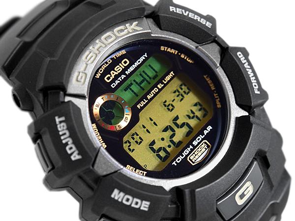 """凱西歐""""G 衝擊太陽能數位手錶黑色黃金 G-2300年-9 V"""