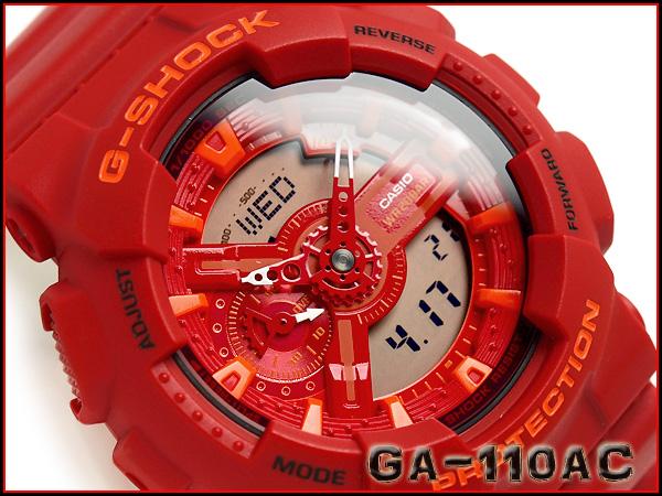 國內模式凱西歐 G 休克計時藍 & 紅色系列類比數位手錶紅色 x 橙色 GA-110AC-4AJF