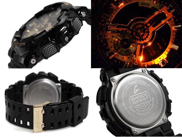 """G 衝擊 G 休克""""凱西歐凱西歐黑 × 黃金系列類比-數位手錶黑金色 GA-110 GB-1ADR"""