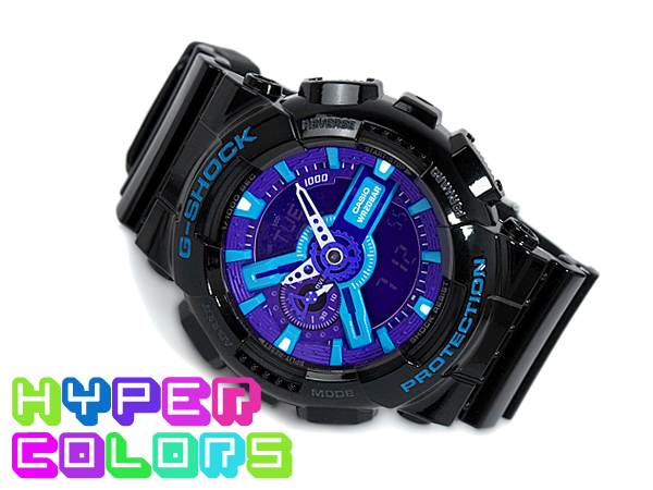 G shock 6600 g-shock CASIO Casio ハイパーカラーズ an analog-digital watch blue purple black GA-110 GA-110HC-1ADR HC-1