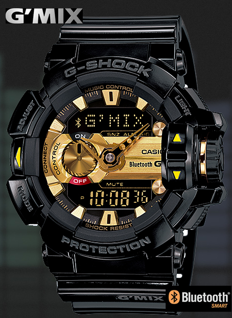 22650a93e9a CASIO G-SHOCK Casio G ショックジーショック G MIX Bluetooth スマフォ cooperation モデルアナデジ  watch black gold GBA-400-1A9JF