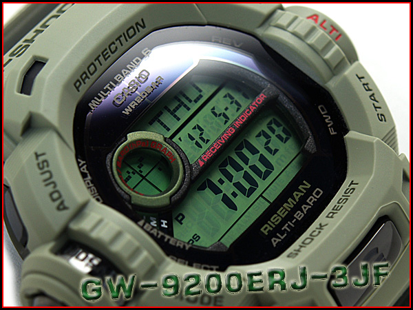 凱西歐 G 休克 riseman 電臺艱難太陽能數位手錶卡其色綠色聚氨酯皮帶 GW-9200ERJ-3JF