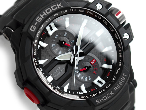 d6973fcbd73e G-SUPPLY  Casio G shock sky cockpit radio solar analog watch black dial  polyurethane belt GW-A1000-1AJF
