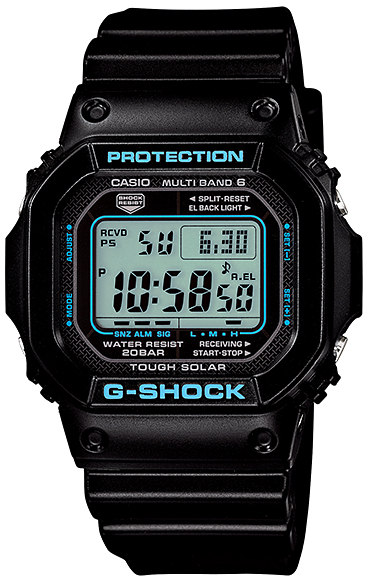 卡西歐G打擊CASIO G-SHOCK 5600電波太陽能電波鐘表黑色×藍色數碼手表GW-M5610BA-1JF