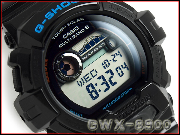 Casio G shock G ride imports overseas model radio solar tide graph and moon data with digital men's Watch Black GWX-8900-1DR