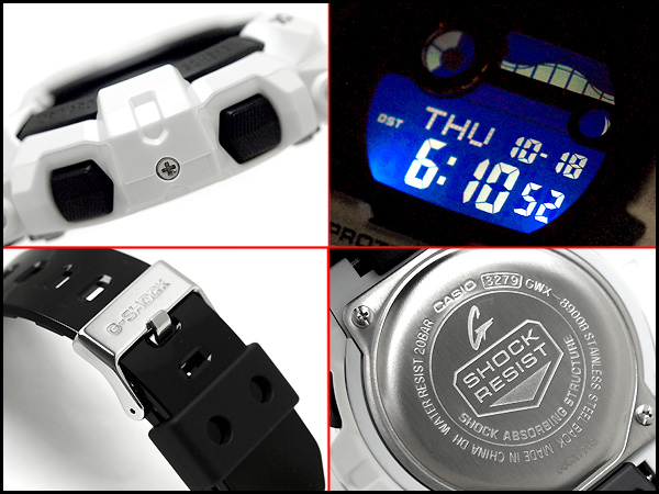 凱西歐 G 騎進口海外模型無線電太陽能潮圖和月球資料與數位男士手錶白 x 黑 GWX-8900B-7 博士