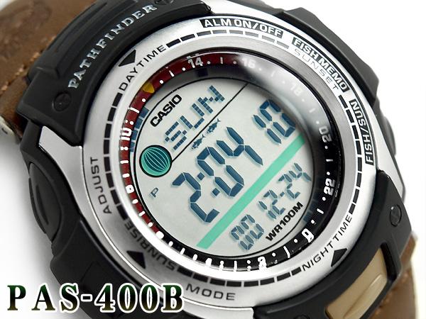 卡西歐海外型號Pathfineer釣魚齒輪月亮圖表功能搭載數碼手表PAS-400B-5V