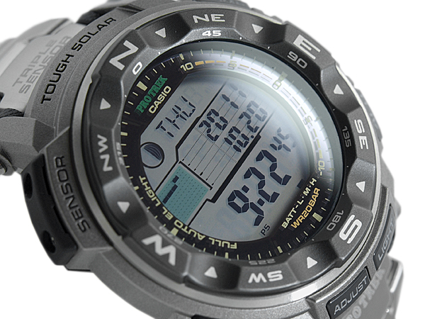 + CASIO PRO TREK PROTREK Casio protrek triple sensor with solar digital watch silver gray PRG-250T-7DR