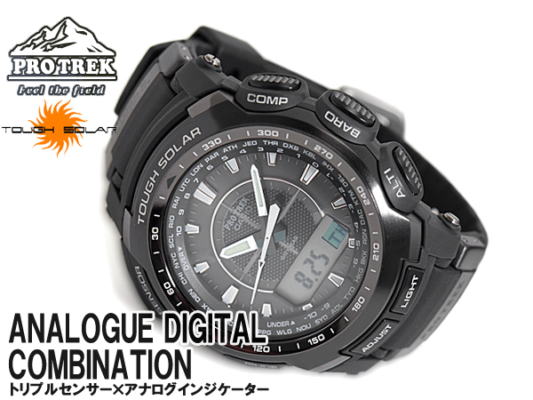 CASIO PRO TREK Casio protrek triple sensor with solar an analog-digital watch black PRG-510-1DR