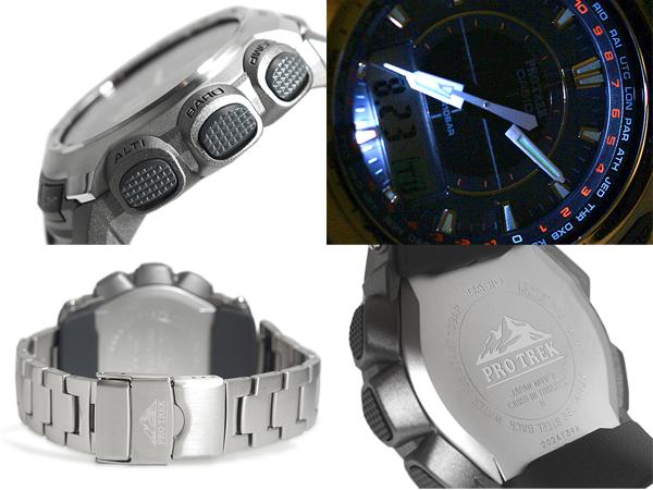 CASIO PRO TREK卡西歐初期Lec三重感應器搭載ソーラーアナデジ手表銀子鈦PRG-510T-7DR fs3gm