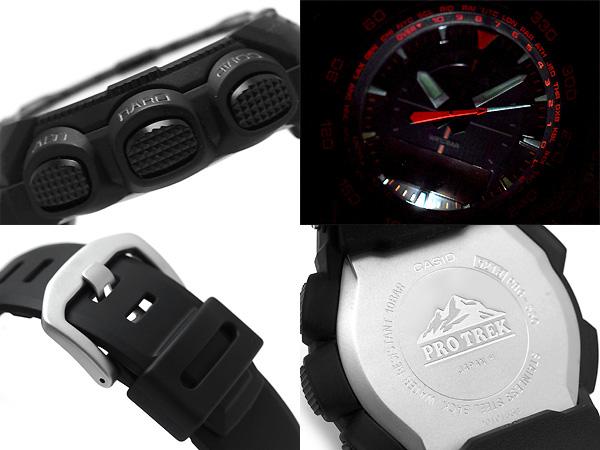 Casio overseas model protrek triple sensor with solar an analog-digital watch black / orange polyurethane belt PRG-550-1 A4DR